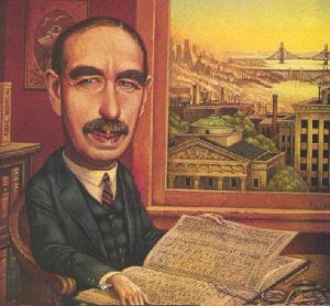 Una caricatura di John Maynard Keynes