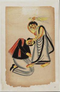 Donna picchia uomo con una scopa