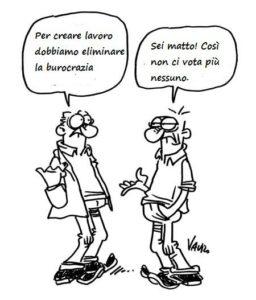 Interpretazione sulla burocrazia di Vauro, noto vignettista satirico