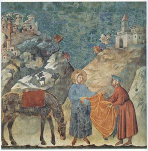 San Francesco dona il suo mantello a un povero