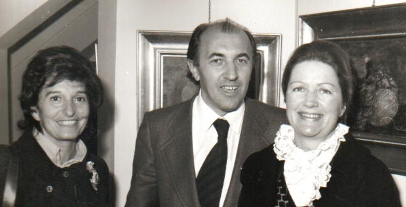 Ferrarotti con la moglie (dx) e la pittrice jugoslava Eva Fischer