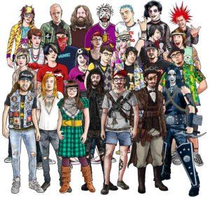 Vignetta che rappresenta alcuni idealtipi subculturali