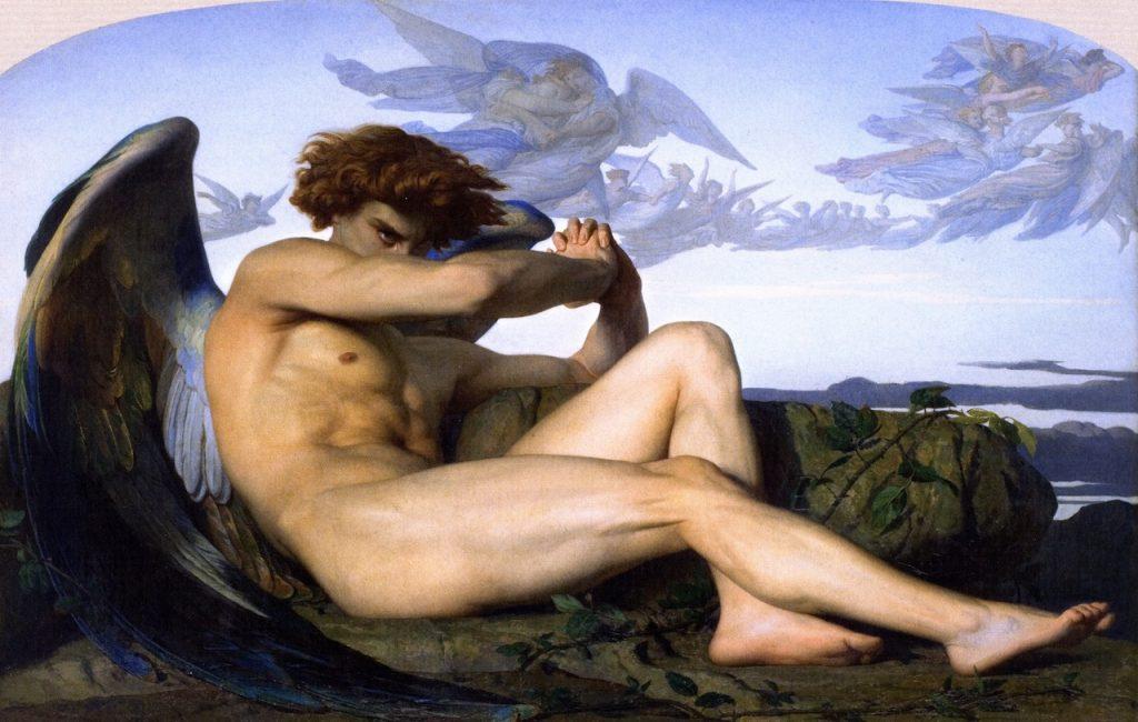 Dipinto di Alexandre Cabanel, the fallen angel. Il momento della caduta di Lucifero.