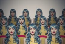 Many Glamour Beauty Woman Clones. Identical Crowd Concept. On Gray Background.